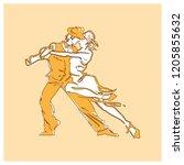 beauty dancing couple orange... | Shutterstock .eps vector #1205855632