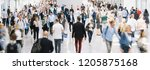 large crowd of anonymous... | Shutterstock . vector #1205875168