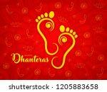 happy dhanteras. maa lakshmi... | Shutterstock .eps vector #1205883658