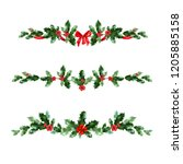 holly holiday banner   Shutterstock .eps vector #1205885158