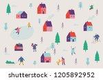winter city. winter season... | Shutterstock .eps vector #1205892952
