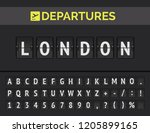 analog airport flip board with... | Shutterstock .eps vector #1205899165
