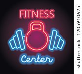 fitness gym center logo with... | Shutterstock .eps vector #1205910625