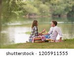 couple in love enjoying picnic... | Shutterstock . vector #1205911555