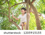Cute Asian Boy Climbing A Tree...