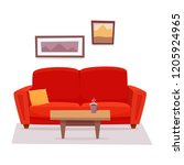 red sofa with table and... | Shutterstock .eps vector #1205924965