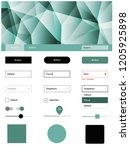 dark green vector ui kit in...