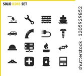 industrial icons set with car ...