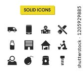 industry icons set with... | Shutterstock . vector #1205929885