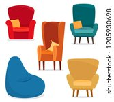 different chairs set with... | Shutterstock .eps vector #1205930698