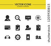 service icons set with support...
