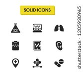 medical icons set with monitor  ...