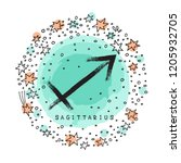 zodiac sign sagittarius with...   Shutterstock .eps vector #1205932705