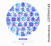 winter concept in circle with... | Shutterstock .eps vector #1205944168
