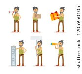 vector young adult hipster man...   Shutterstock .eps vector #1205950105