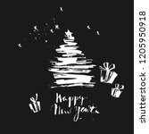 hand drawn chalk christmas and... | Shutterstock .eps vector #1205950918