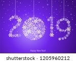 happy new year 2019 greeting... | Shutterstock .eps vector #1205960212