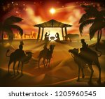 christmas nativity scene  baby... | Shutterstock .eps vector #1205960545