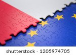 flag of the poland and the... | Shutterstock . vector #1205974705