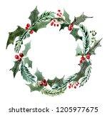 christmas watercolor wreath...   Shutterstock . vector #1205977675