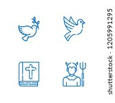 collection of 4 heaven outline... | Shutterstock .eps vector #1205991295