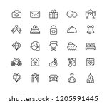wedding  icon set in line style. | Shutterstock . vector #1205991445