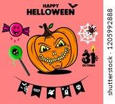 set of halloween element.... | Shutterstock .eps vector #1205992888