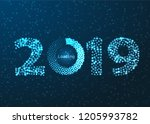 happy new year 2019 with... | Shutterstock .eps vector #1205993782