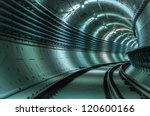 Underground Tunnel With Blue...