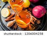 two cups of autumn winter hot... | Shutterstock . vector #1206004258