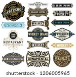 set of 16 badges and banners  | Shutterstock .eps vector #1206005965