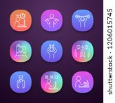 emotional stress app icons set. ...