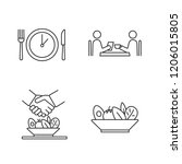 business lunch linear icons set.... | Shutterstock .eps vector #1206015805