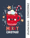 cute merry christmas and happy... | Shutterstock .eps vector #1206023062