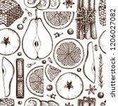 vector background kitchen herbs ... | Shutterstock .eps vector #1206027082
