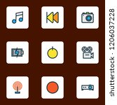 media icons colored line set...   Shutterstock .eps vector #1206037228