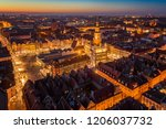 evening aerial view on poznan...   Shutterstock . vector #1206037732