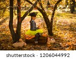girl in halloween holiday is... | Shutterstock . vector #1206044992