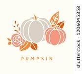 vector halloween pumpkin...   Shutterstock .eps vector #1206045358