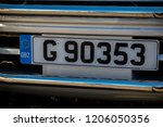Gibraltar, United Kingdom, 1st October 2018:- Car licence plates in Gibraltar. Gibraltar is a British Overseas Territory located on the southern tip of Spain. - stock photo