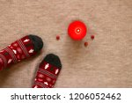 christmas warm socks and red...   Shutterstock . vector #1206052462