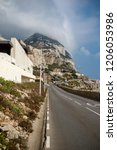 Gibraltar, United Kingdom, 2nd October 2018:- The east coast road of Gibraltar, looking north. Gibraltar is a British Overseas Territory located on the southern tip of Spain. - stock photo