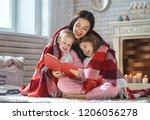 winter portrait of happy loving ... | Shutterstock . vector #1206056278