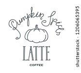 pumpkin spice latte. hand drawn ... | Shutterstock .eps vector #1206065395