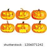 set of six pumpkins for... | Shutterstock .eps vector #1206071242