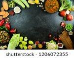 vegetables on black background | Shutterstock . vector #1206072355