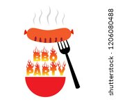 bbq party poster vector... | Shutterstock .eps vector #1206080488