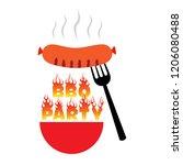 bbq party icon logo vector... | Shutterstock .eps vector #1206080488