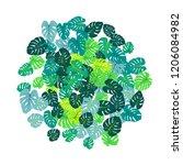green tropical jungle leaves...   Shutterstock .eps vector #1206084982