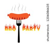 bbq party poster vector... | Shutterstock .eps vector #1206086635